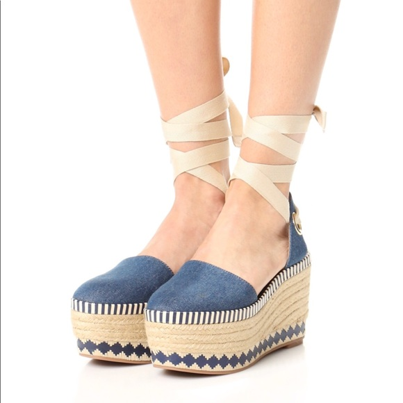 c0a9f2105771f1 BRAND NEW TORY BURCH DENIM ESPADRILLE WEDGE
